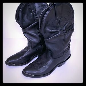 Double H Leather Black Slouch Western Boots sz 7